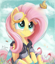 Size: 2400x2800 | Tagged: safe, artist:bugplayer, fluttershy, bee, butterfly, pegasus, pony, bugplayer is trying to murder us, chest fluff, clothes, cute, dangerous mission outfit, female, fluffy, folded wings, goggles, hoodie, hug life, looking at something, looking up, mare, shyabetes, signature, sitting, smiling, solo, sweet dreams fuel