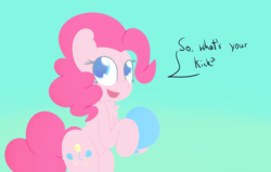 Size: 2376x1512 | Tagged: artist:mr-degration, balloon, bipedal, chest fluff, dialogue, open mouth, pinkie pie, pony, safe, simple background, solo