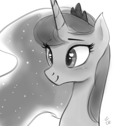Size: 655x662 | Tagged: safe, artist:ehfa, princess luna, alicorn, pony, bust, cute, female, grayscale, heart eyes, lunabetes, mare, monochrome, portrait, simple background, smiling, solo, white background, wingding eyes