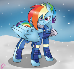 Size: 1545x1456 | Tagged: safe, artist:jack-pie, rainbow dash, pegasus, pony, the cutie re-mark, alternate timeline, amputee, apocalypse dash, augmented, clothes, crystal war timeline, female, metal wing, prosthetic limb, prosthetic wing, prosthetics, solo