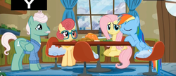 Size: 2349x1013   Tagged: safe, screencap, fluttershy, gentle breeze, posey shy, rainbow dash, pony, flutter brutter, shy family house, shys, the shy family