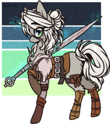 Size: 761x855 | Tagged: safe, artist:tenebristayga, pony, unicorn, ciri, clothes, crossover, female, mare, ponified, simple background, solo, sword, the witcher, transparent background, weapon