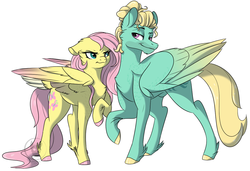 Size: 1202x822 | Tagged: artist:bluesidearts, brother and sister, flutter brutter, fluttershy, nudity, safe, sheath, siblings, zephyr breeze