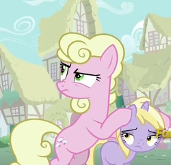 Size: 867x839 | Tagged: safe, screencap, dinky hooves, millie, earth pony, pony, unicorn, flutter brutter, bipedal, covering, covering ears, disgusted, female, filly, frown, glare, lidded eyes, looking up, nose wrinkle, peeved, raised eyebrow, unamused