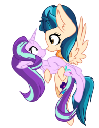 Size: 2700x3500 | Tagged: safe, artist:flurrypastels-mlp, edit, indigo zap, starlight glimmer, pegasus, pony, unicorn, equestria girls, crack shipping, equestria girls ponified, female, lesbian, ponified, shipping, simple background, starlightzap, transparent, transparent background