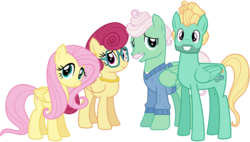 Size: 6700x3800 | Tagged: safe, artist:cheezedoodle96, fluttershy, gentle breeze, posey shy, zephyr breeze, pony, flutter brutter, .svg available, absurd resolution, clothes, family, fluttershy's parents, looking at you, necklace, pearl necklace, shys, simple background, svg, the shy family, transparent background, vector