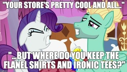 Size: 887x500 | Tagged: caption, edit, edited screencap, flutter brutter, hipster, image macro, man bun, meme, misspelling, rarity, safe, screencap, this will end in tears and/or death, zephyr breeze