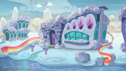 Size: 1920x1090 | Tagged: safe, screencap, pony, flutter brutter, cloud house, cloudsdale, house, rainbow fence, scenery, shy family house
