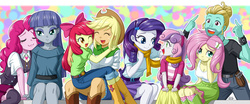 Size: 1465x612 | Tagged: safe, artist:uotapo, apple bloom, applejack, fluttershy, maud pie, pinkie pie, rarity, sweetie belle, zephyr breeze, equestria girls, flutter brutter, :3, big sister, blushing, boots, breasts, brother and sister, cleavage, clothes, colored pupils, cowboy hat, cute, denim skirt, equestria girls-ified, female, group, hat, jeans, little sister, maudabetes, pants, shorts, siblings, sisters, skirt, smiling, stetson, uotapo is trying to murder us, when she smiles, zephyrbetes
