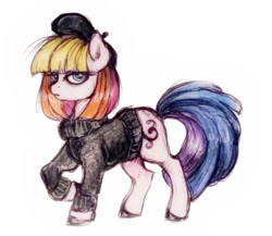 Size: 747x649 | Tagged: safe, artist:buttersprinkle, toola roola, beret, clothes, female, g3, g3.5, g3.5 to g4, generation leap, solo, sweater, traditional art
