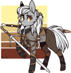 Size: 1078x1106 | Tagged: safe, artist:tenebristayga, armor, crossover, geralt of rivia, ponified, simple background, solo, sword, the witcher, transparent background, weapon