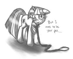 Size: 2513x2024 | Tagged: safe, artist:leadhooves, twilight sparkle, may the best pet win, bronybait, collar, female, grayscale, leash, monochrome, pet play, pet tag, solo