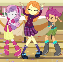 Size: 630x620 | Tagged: safe, screencap, orange sherbette, scootaloo, sweetie belle, equestria girls, friendship games, background human, boots, clothes, club can't handle me, cropped, shoes