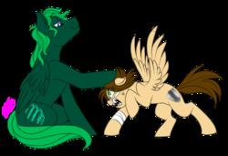 Size: 1900x1300 | Tagged: safe, artist:dragonfoxgirl, oc, oc only, oc:kite, oc:zephyr burst, angry, simple background, transparent background