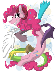 Size: 2550x3300 | Tagged: safe, artist:okapifeathers, pinkie pie, draconequus, draconequified, pinkonequus, simple background, solo, species swap, xk-class end-of-the-world scenario