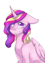 Size: 800x1125 | Tagged: safe, artist:yuyusunshine, princess cadance, alicorn, pony, .psd available, female, floppy ears, looking at you, mare, simple background, sitting, solo, sweatdrop, white background