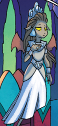 Size: 295x637 | Tagged: safe, idw, queen haydon, gargoyle, spoiler:comic, spoiler:comicfiendshipismagic2, clothes, cropped, crown, dress, ear piercing, earring, female, gown, jewelry, official comic, piercing, regalia, solo