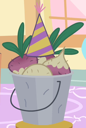 Size: 339x502 | Tagged: safe, screencap, mr. turnip, party of one, bucket, cropped, hat, party hat, solo, turnip