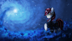 Size: 2560x1440 | Tagged: armor, artist:setharu, artist:sgtwaflez, clothes, cloud, fallout equestria, fallout equestria: project horizons, fanfic, fanfic art, female, hooves, horn, mare, oc, oc:blackjack, oc only, pipbuck, pony, raised hoof, safe, security armor, solo, spiral, stars, unicorn, vault security armor, vault suit, wallpaper