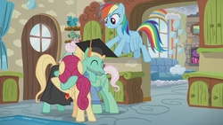 Size: 1920x1080 | Tagged: safe, screencap, gentle breeze, posey shy, rainbow dash, zephyr breeze, pony, flutter brutter, cute, eyes closed, family, graduation cap, group hug, hat, hug, shys, smiling, the shy family