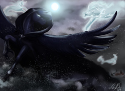 Size: 1600x1171 | Tagged: safe, artist:miidniightsuun, princess luna, spirit of hearth's warming yet to come, alicorn, horse, windigo, a hearth's warming tail, blizzard, cloak, clothes, epic, female, fight, flying, greaves, magic, mare, snow, snowfall, spread wings, unshorn fetlocks, wings