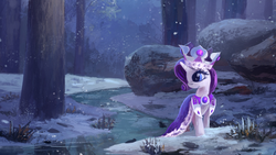Size: 2560x1440 | Tagged: safe, artist:ajvl, edit, princess platinum, rarity, pony, unicorn, cropped, crown, female, forest, queen rarity, river, scenery, smiling, snow, snowfall, solo, tree, wallpaper, wallpaper edit, water