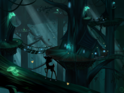 Size: 2800x2100 | Tagged: artist:sirzi, bridge, canopy, cervine, dark, deer, deer oc, firefly (insect), forest, glow, glowing mushroom, mushroom, oc, oc only, original species, peryton, raised hoof, safe, scenery, shade, tattoo, tree, treehouse, village, vitrung