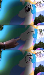 Size: 3840x6480 | Tagged: safe, artist:ashidaru, artist:bastbrushie, princess celestia, alicorn, human, pony, :t, absurd resolution, blushing, boop, comic, cute, cutelestia, eyes closed, female, finger, frown, hand, irl, irl human, looking at you, looking away, mare, photo, ponies in real life, scrunchy face, shadow, solo focus, tree, vector, wavy mouth, wide eyes