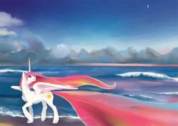 Size: 1241x878   Tagged: safe, artist:spectralunicorn, princess celestia, alicorn, pony, caspar david friedrich, cloud, dawn, ethereal mane, female, fine art parody, horizon, mare, morning star, ocean, romanticism, shore, solo, wave