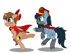 Size: 2000x1500 | Tagged: angry, artist:peternators, bipedal, cape, clothes, derp, derping, hat, mad munchkin, oc, oc:heroic armour, oc:mad munchkin, oc only, pony, punch, red mage, safe, scarf, simple background