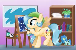 Size: 6000x4000 | Tagged: safe, artist:blupolicebox, princess luna, oc, book, easel, mug, paint, paintbrush, painting
