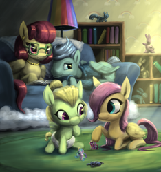 Size: 1003x1071 | Tagged: safe, artist:bakuel, fluttershy, gentle breeze, posey shy, princess cadance, princess celestia, princess luna, zephyr breeze, pony, flutter brutter, baby, baby pony, book, brother and sister, clothes, cloudsdale, colt, couch, crepuscular rays, cute, daaaaaaaaaaaw, diaper, female, filly, filly fluttershy, glasses, hair over one eye, male, pearl necklace, reading, shyabetes, shys, siblings, sweet dreams fuel, the shy family, toy, younger, zephyrbetes