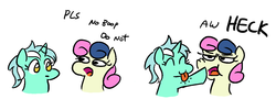 Size: 1280x460   Tagged: safe, artist:jargon scott, bon bon, lyra heartstrings, sweetie drops, earth pony, pony, unicorn, :o, :p, : , bon bon is not amused, boop, c:, chibi, cute, do not, eyes closed, female, frown, heck, mare, no boop, non-consensual booping, nose wrinkle, open mouth, parody, pls, silly, simple background, smiling, tongue out, unamused, white background