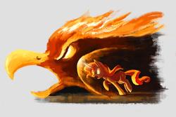 Size: 1772x1181 | Tagged: safe, artist:plainoasis, sunset shimmer, phoenix, pony, unicorn, charge, female, magic, solo, sunset phoenix
