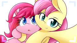 Size: 1920x1080 | Tagged: safe, artist:dshou, fluttershy, pinkie pie, earth pony, pegasus, pony, alternate hairstyle, duo, female, looking at you, selfie, smiling, yet another pinkie blog