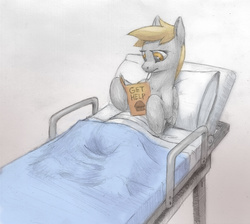 Size: 1200x1074 | Tagged: artist:difetra, bandage, bed, derpy hooves, female, hospital, injured, mare, pegasus, pony, recovery, safe, solo, underp