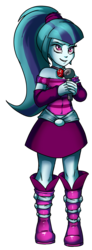 Size: 1500x4092 | Tagged: safe, artist:gabbslines, sonata dusk, equestria girls, absurd resolution, boots, clothes, jewelry, microphone, necklace, pendant, ponytail, skirt, solo