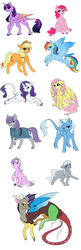 Size: 1024x3151 | Tagged: alicorn, applejack, artist:bluesidearts, classical unicorn, colored wings, curved horn, diamond tiara, discord, fluttershy, leonine tail, mane six, maud pie, multicolored wings, pinkie pie, pony, rainbow dash, rarity, safe, silver spoon, tail feathers, tongue out, trixie, twilight sparkle, twilight sparkle (alicorn), unshorn fetlocks