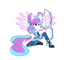 Size: 1200x1000   Tagged: safe, artist:flurrypastels-mlp, princess flurry heart, equestria girls, friendship games, alternate hairstyle, archery, arrow, bow (weapon), bow and arrow, equestria girls-ified, obtrusive watermark, older, ponied up, smirk, solo, watermark, weapon