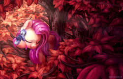 Size: 1700x1100 | Tagged: safe, artist:bobdude0, fluttershy, bird, pegasus, pony, autumn, crepuscular rays, cute, eyes closed, featured image, female, prone, realistic, scenery, shyabetes, sleeping, smiling, solo, sweet dreams fuel, tree