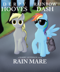 Size: 1600x1933 | Tagged: safe, artist:styroponyworks, derpy hooves, rainbow dash, pegasus, pony, bag, female, mare, movie, movie poster, parody, ponified, poster, sunglasses, underp