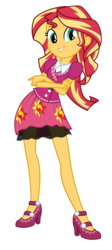 Size: 1470x3285 | Tagged: safe, artist:keronianniroro, sunset shimmer, equestria girls, friendship games, canterlot high, clothes, crossed arms, cute, female, high heels, school spirit, shimmerbetes, simple background, skirt, smiling, solo, transparent background, vector, wondercolts