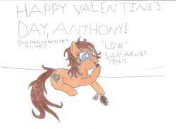 Size: 1024x750 | Tagged: safe, artist:samaru163, oc, oc only, oc:heartbreak, earth pony, pony, blue eyes, branding, chocolate, eating, female, food, heart, hearts and hooves day, hole, human in equestria, human to pony, male to female, mare, messy mane, my little heartbreak, rule 63, sitting, smiling, solo, traditional art, valentine's day, valentine's day card