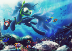 Size: 4677x3307 | Tagged: safe, artist:ruhisu, princess luna, fish, absurd resolution, aquatic, blue tang, camera, clownfish, crepuscular rays, diving, finding dory, finding nemo, fishes, goggles, nose plug, ocean, snorkel, snorkeling, solo, swimming, swimming goggles, underwater