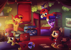 Size: 4677x3307 | Tagged: absurd res, aquarium, artist:ruhisu, bed, bedroom, book, bunk bed, clothes, colt, colt sunburst, cute, dancerbetes, diabetes, eyes closed, female, filly, filly moondancer, filly starlight, filly sunset, glimmerbetes, jumping, kora kosicka, male, moondancer, oc, open mouth, pony, safe, shimmerbetes, smarty pants, socks (coat marking), starlight glimmer, story time, sunbetes, sunburst, sunset shimmer, unicorn, younger