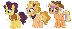 Size: 900x372 | Tagged: adoptable, artist:monkfishyadopts, braeburn, braesala, crack shipping, female, male, oc, oc:dolly appleseed, oc only, oc:saffy lace, oc:showdown shoe, offspring, parent:braeburn, parent:saffron masala, parents:braesala, safe, saffron masala, shipping, spice up your life, straight, trio