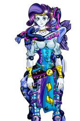 Size: 1103x1661   Tagged: safe, artist:brother-lionheart, rarity, oc, oc:ruby tuesday, equestria girls, breasts, busty rarity, female, giorno giovanna, gold experience, jojo pose, jojo's bizarre adventure, lisa lisa, ruby tuesday, stand