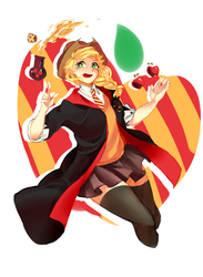 Size: 967x1322 | Tagged: safe, artist:melanehh, applejack, human, apple, clothes, cowboy hat, crossover, food, gryffindor, harry potter, hat, humanized, pleated skirt, potions, robe, school uniform, skirt, socks, solo, stetson, thigh highs, zettai ryouiki