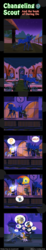 Size: 600x3263 | Tagged: safe, artist:vavacung, daring do, princess luna, changeling, comic:changeling-scout, book, comic, night, rope, royal guard, speech bubble, sweat, sword, train, weapon
