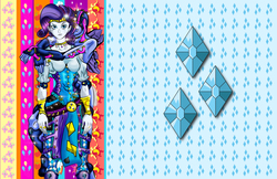 Size: 2550x1650   Tagged: safe, artist:brother-lionheart, rarity, oc, oc:ruby tuesday, equestria girls, abstract background, breasts, busty rarity, female, giorno giovanna, gold experience, jojo pose, jojo's bizarre adventure, lisa lisa, ruby tuesday, solo, stand, vento aureo, wallpaper